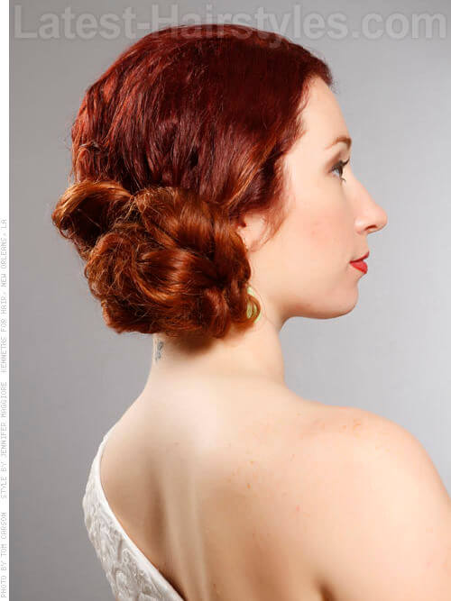 Side Bun Shiny Auburn Party Look Side View