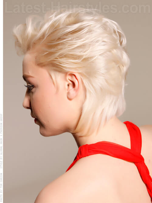 Sultry Siren Cute Swept Back Blonde Look Side View