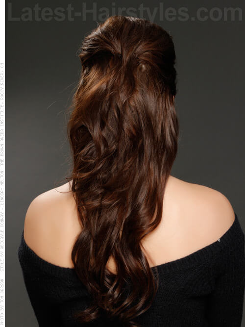 Hairstyles For Dinner Party Part - 46: The Half Up Long Brunette Party Style With Ringlets Back View