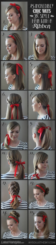 ways to style hair with a ribbon