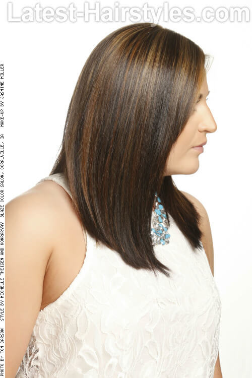 Angled Long Straight Hairstyle Side
