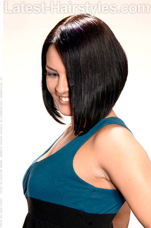 Asymmetric Bob Hairstyle Side View