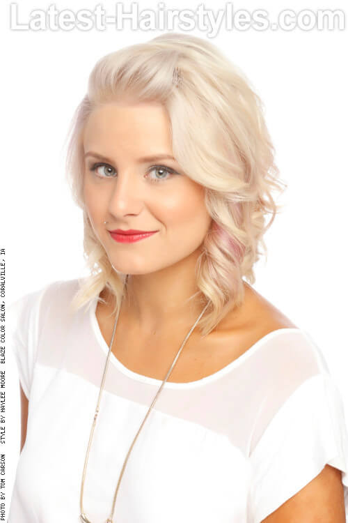 Bright Blonde Haircolor with Pastel Pop
