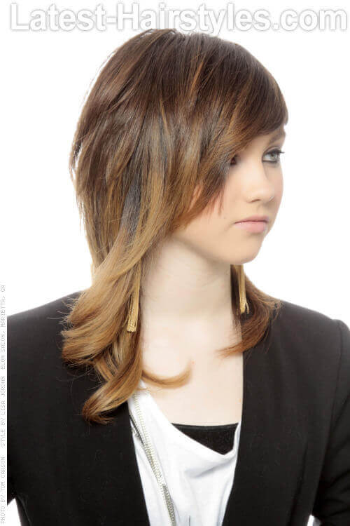 Brunette Hairstyle with Choppy Layers Side