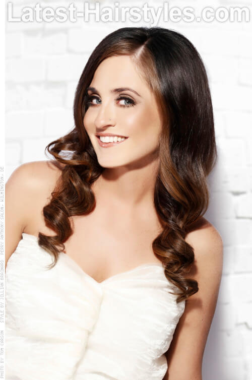Dark Brown Haircolor with Beige Highlights Side