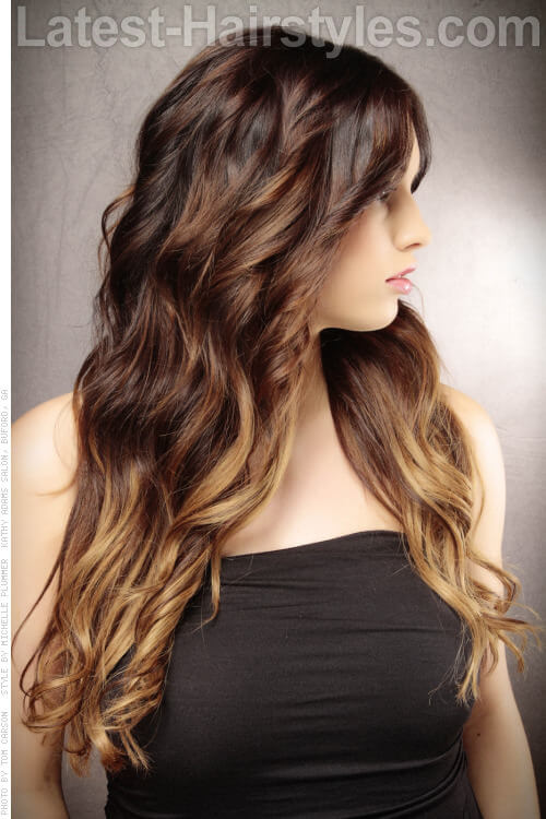 Dark Haircolor with Light Ends Side