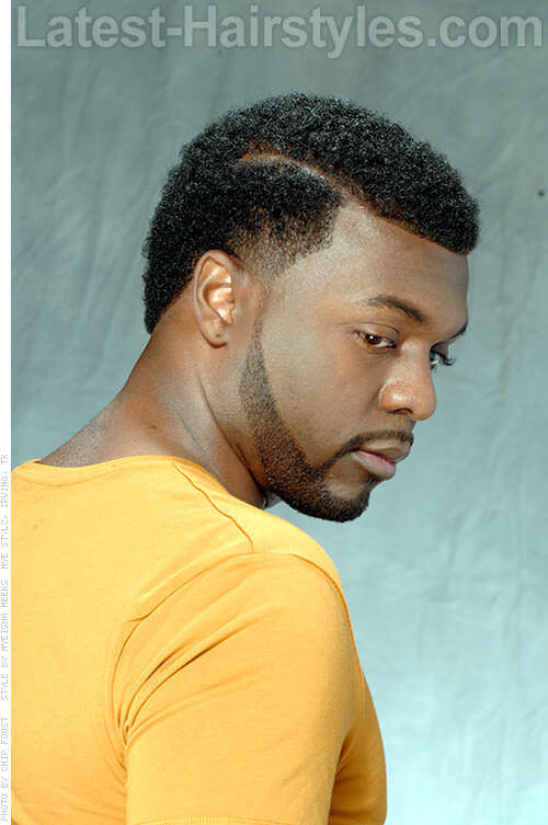 Hairstyle for Black Men with Side Part Side