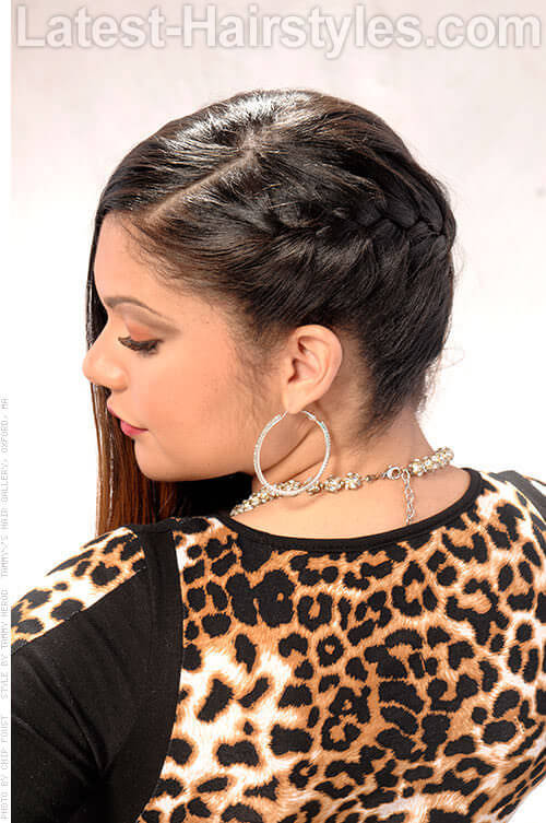 Long Hairstyle with Side French Braid Side View