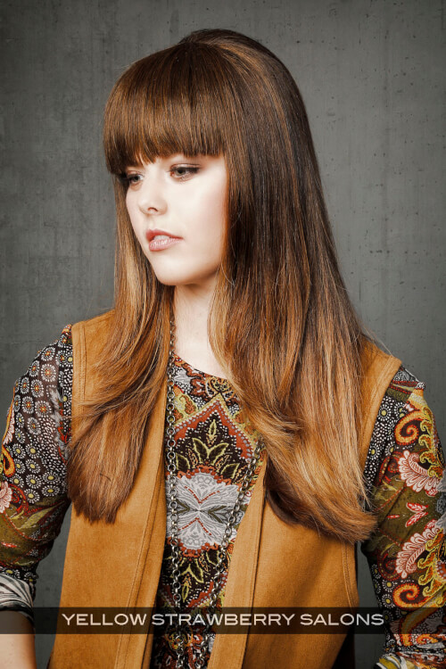 Long Straight Hairstyle with Blunt Bangs Side