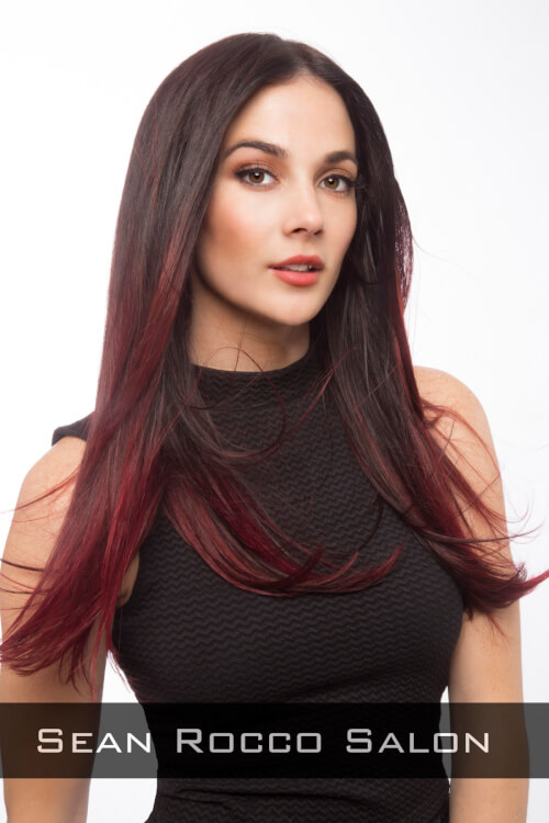 Long Straight Hairstyle with Center Part