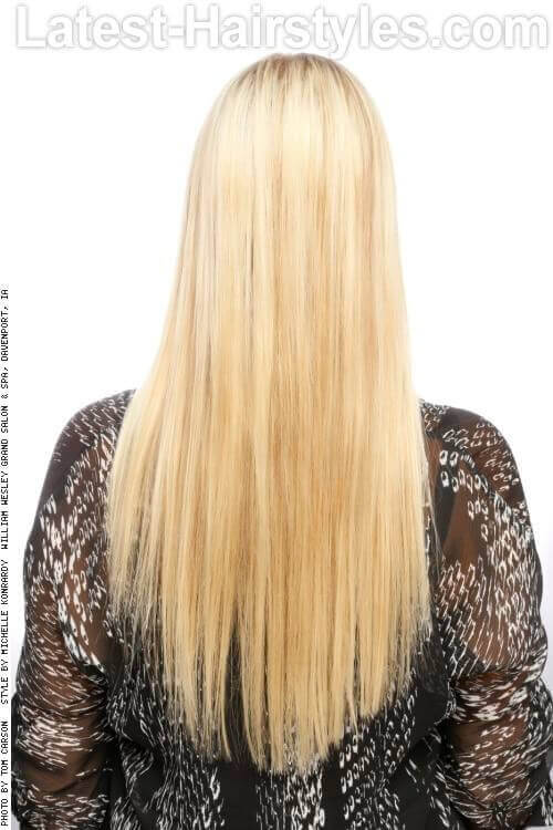 Long Straight Hairstyle with Middle Part Back