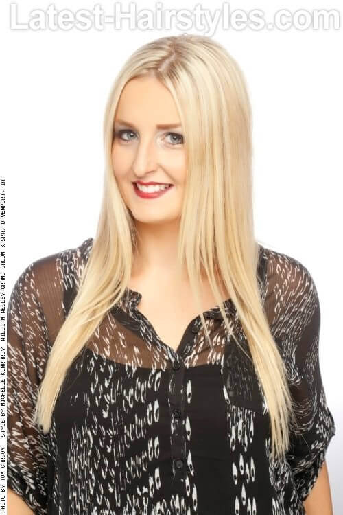 Long Straight Hairstyle with Middle Part