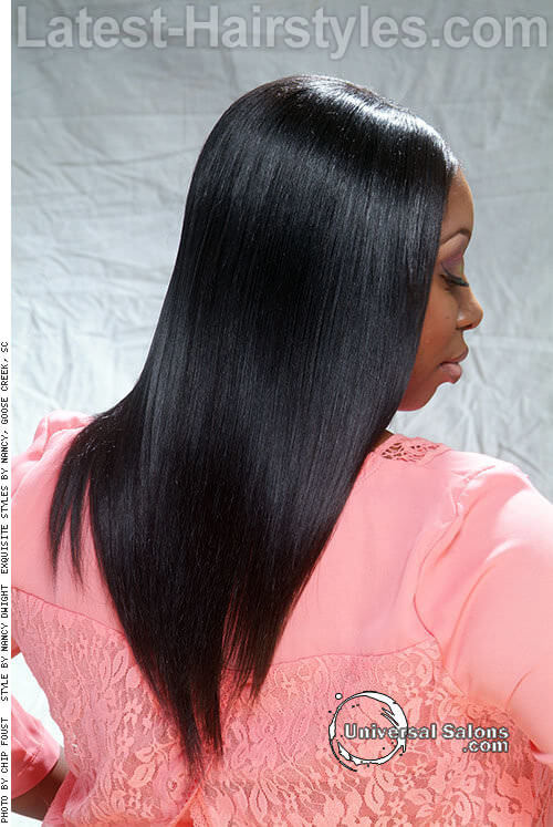Long Straight V Shape Hairstyle Back