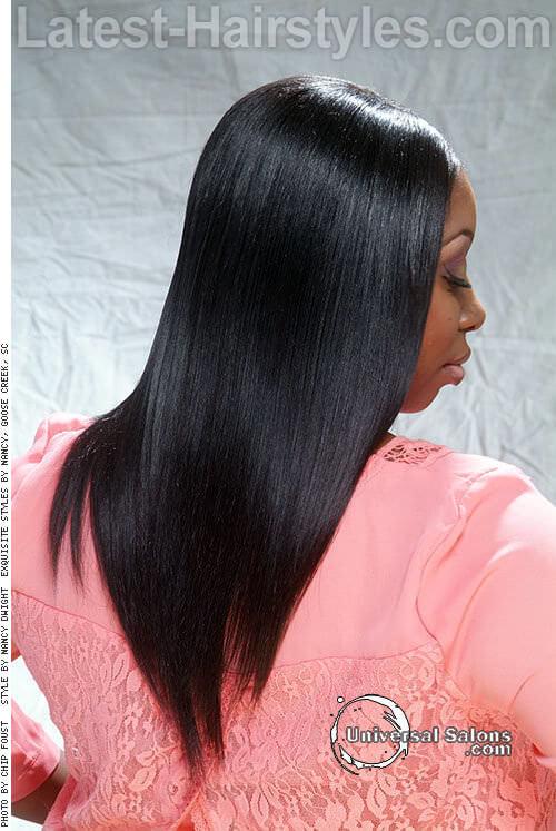 Long Straight V Shape Hairstyle Back