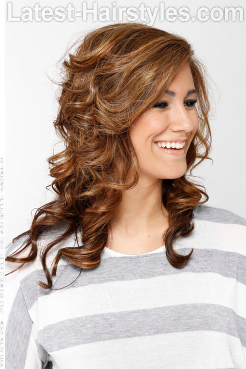 Medium Brown Haircolor with Highlights Side