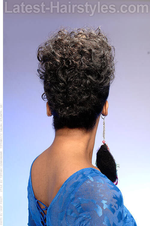 Short Curly Hairstyle with Highlights Back