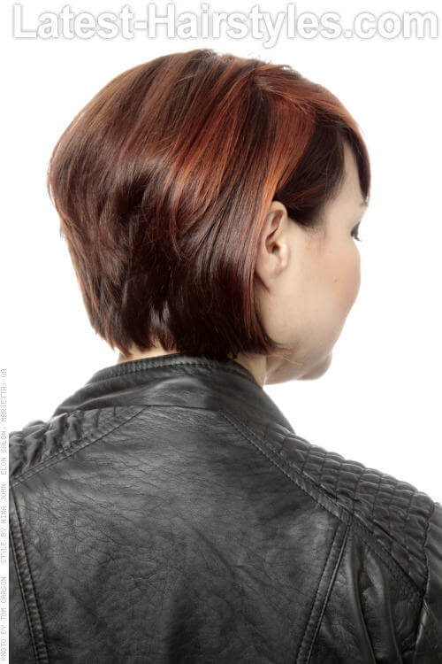 Short Hairstyle with Deep Side Part Back View