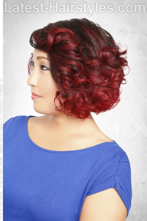 Short Hairstyle with Orchid Highlights Side