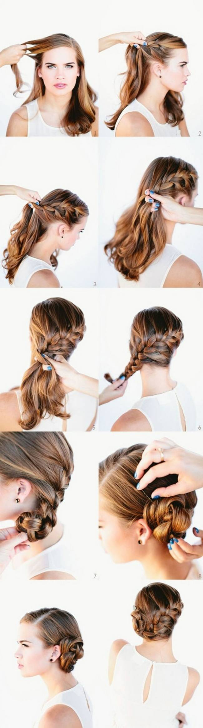waterfall French braided bun hairstyle