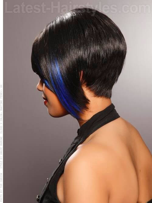 Asymmetric Deep Brunette Bob Back View Blue Streaks