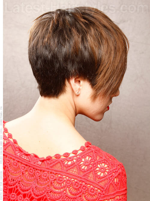 Asymmetric Hair Highlights Light Brown Paired with Deeper Brown Side View