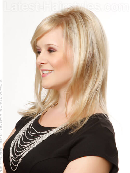 Big Hair Blonde Full Look with Fringe Side View