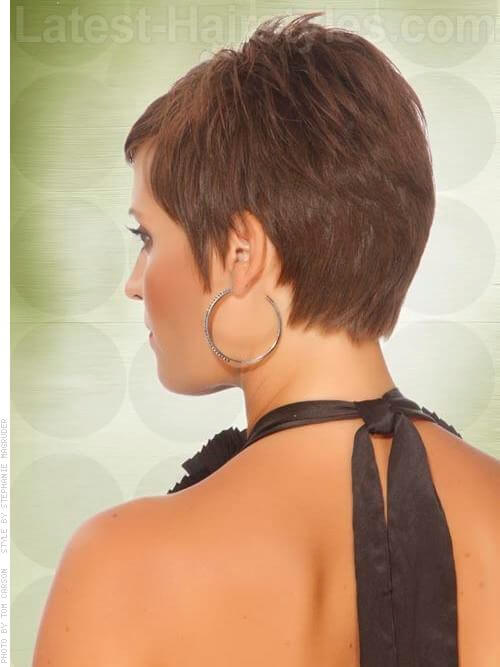 Brownie Points Brunette Pixie Back View