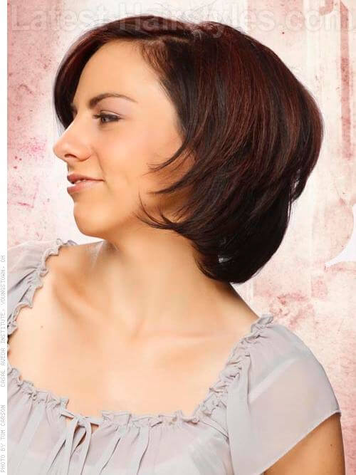 Chestnut Glow Hair Highlights Trendy Cut Side View