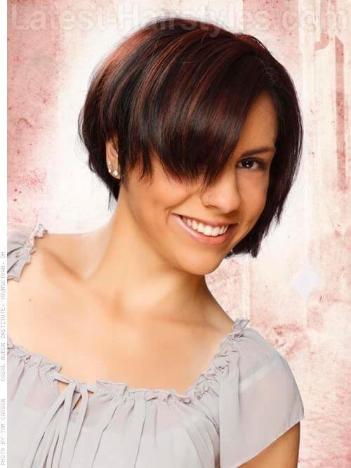 Chestnut Glow Hair Highlights Trendy Cut