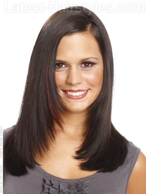 Chiseled Elegance Flowing Straight Brunette Hairstyle