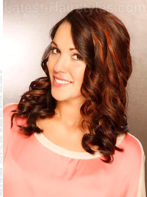 Chocolate Tangerine Wavy Brunette Hair with Highlights
