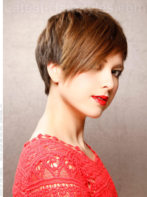 Disconnected Top Short Pixie with Long Bangs