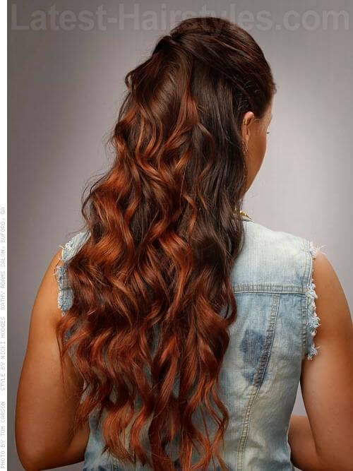 Diva Curls Long Brunette Simple Style Back View