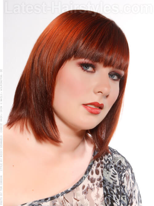 Easy Fringe Straight Shiny Red Style with Bangs