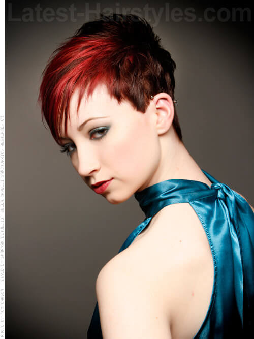 Fringe Benefits Short Red Style with Wisps Side View