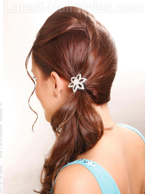 Fun Simple Ponytail with Wispy Front Pieces Back View