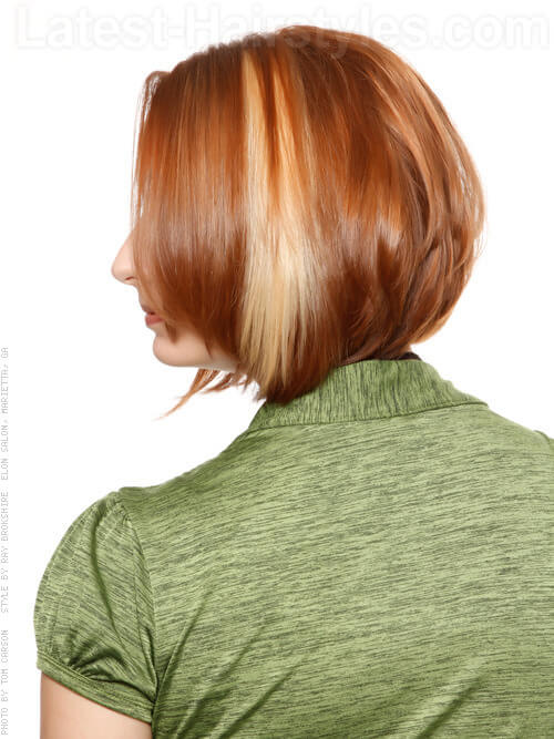 Graduated Bob Stacked-Highlights mit Bangs Seitenansicht
