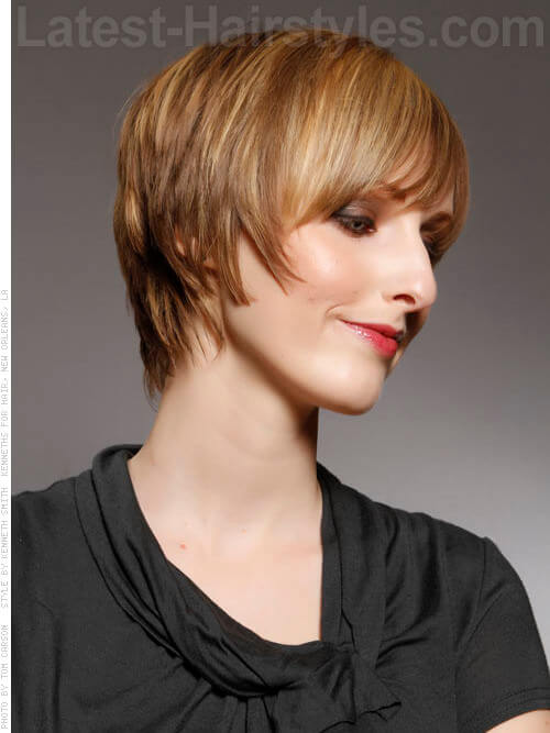 Layered Away Pixie Haircut with Long Bangs Side View