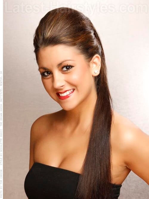 Long And Silky Straight Ponytail Hairstyle