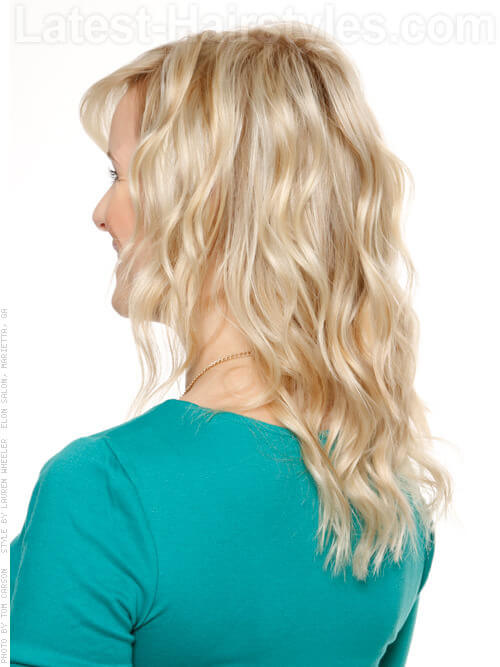 Loose Waves Blonde Long Wavy Look Back View