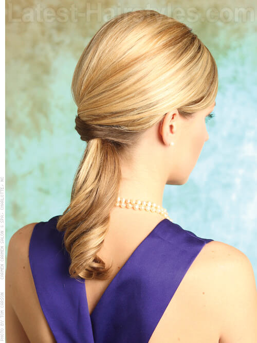 Perfectly Polished Pony Smooth Blonde Ponytail Back View