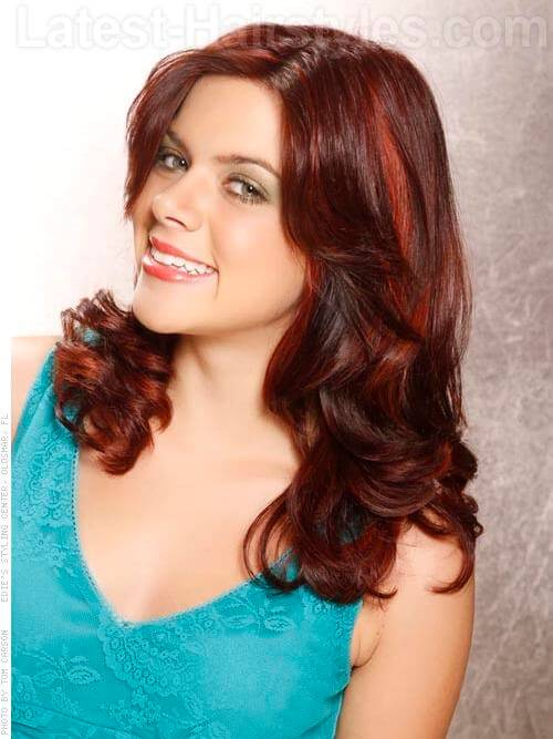 Red Ribbons Wavy Brunette Hair with Red Highlights