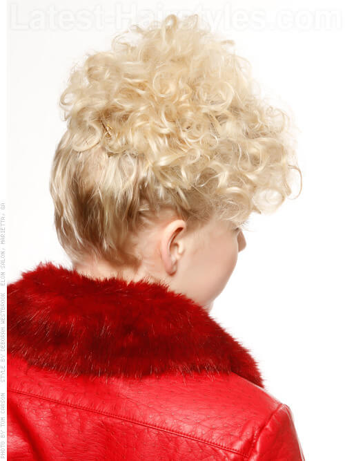 Short Blonde Gathered Curls Back View