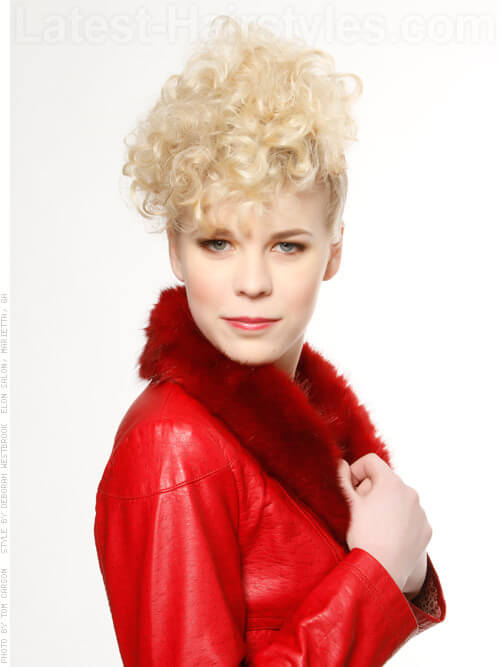 Short Blonde Gathered Curls