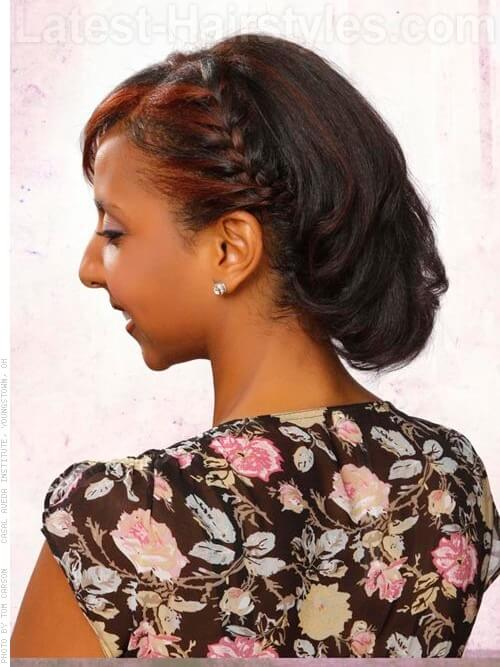 Simple Short Side Braid Style Side View