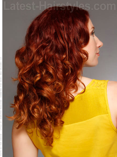 Strawberry Ombre Wavy Red Hair Side View
