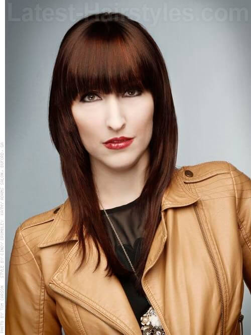 Strong Bangs Brunette Thinning with Reddish Highlights