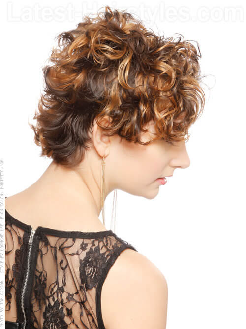 Stylin Asymmetry Cropped Curly Look Side View