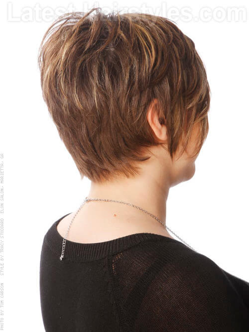 Textured Long Pixie with Bangs and Highlights Back View