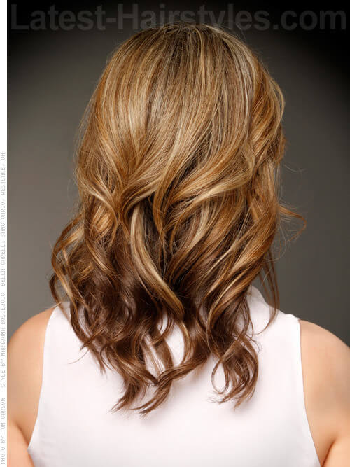 Tousled Curls Layered Look with Highlights Back View